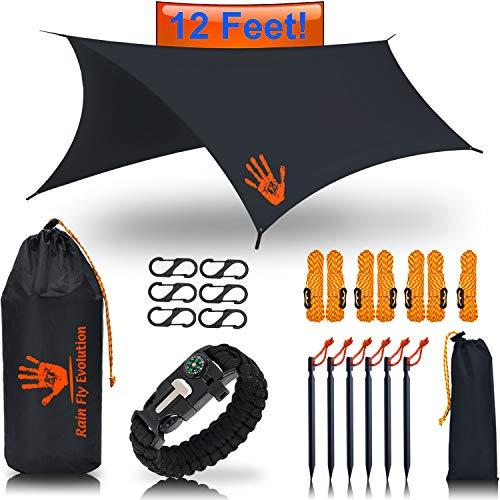 (RainFlyEvolution 12 x 10 ft Hammock Waterproof RAIN Fly Tent TARP & Survival Bracelet Kit - Lightweight - Backpacker Approved - Diamond Ripstop Nylon - Perfect Hammock Shelter Sunshade for Hiking)