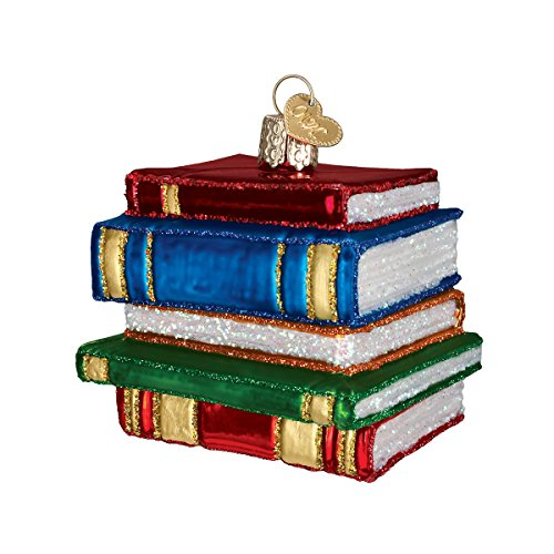 Old World Christmas Stack Of Books Glass Blown Ornament