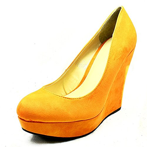 Womens Suedette cuña del alto talón redondeada del dedo del pie zapatos de corte Naranja