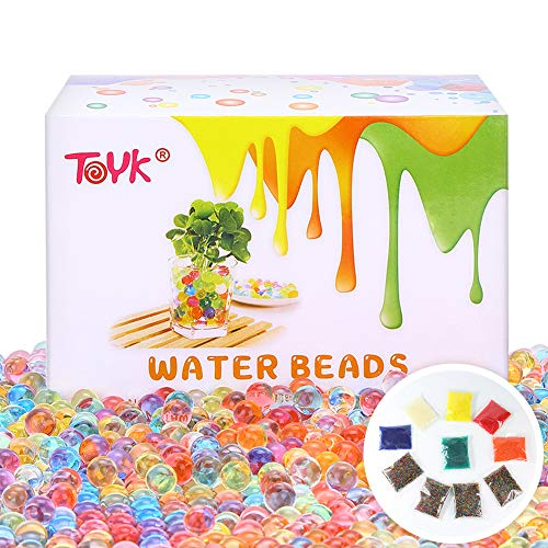 Water Beads Rainbow Mix (100000 Beads) Orbeez Spa Refill Sensory Kids Toys Non-Toxic Growing Balls Orbies Ice Jelly Water Gel Beads Splendid Colors for Pool Vases, Plant, Wedding and Home Decor (Notice Water)