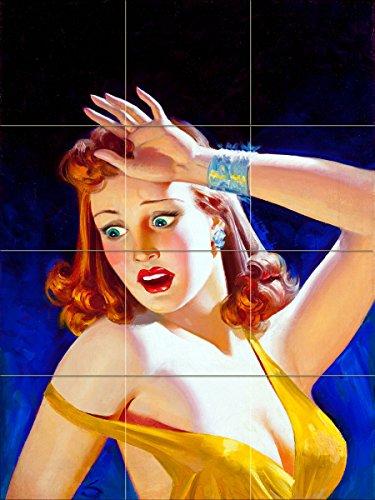 Juicy art girl woman by William Fulton Soare Tile Mural Kitchen Bathroom Wall Backsplash Behind Stove Range Sink Splashback 3x4 8'' Ceramic, Matte by FlekmanArt