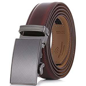 Marino Men's Genuine Leather Ratchet Dress Belt With Automatic Buckle, Enclosed in an Elegant Gift Box - Mahogany - Fits waist sizes up to 44""