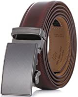 Marino Men's Genuine Leather Ratchet Dress Belt With Automatic Buckle, Enclosed in an Elegant Gift Box - Mahogany - Adjustable from 28