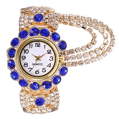 Pengy Vintage Style Watch Crystal Oval Face Women's Bangle Cuff Watch Gold Flower Design Gift Set Watch Models Kh080 (Heart Crystal Barton)