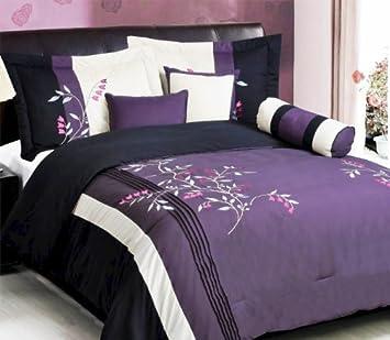 purple black white pink comforter set vine bed in a bag queen size bedding - Black And White Comforter Set