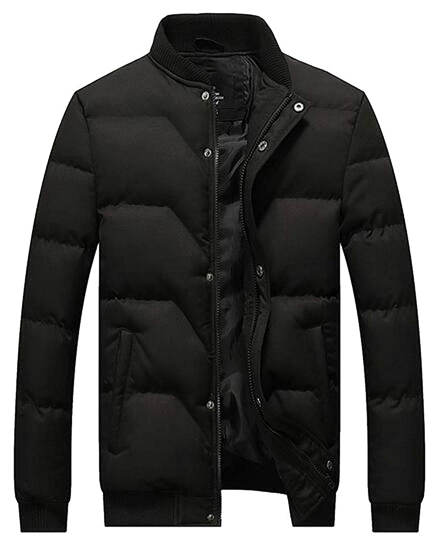 WAWAYA Mens Winter Stand Collar Slim Fit Warm Down Quilted Jacket Parka Coat Outerwear