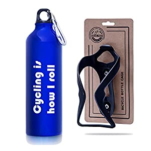 Bike Water Bottle and Mount - Aluminum Water Bottle and Cage