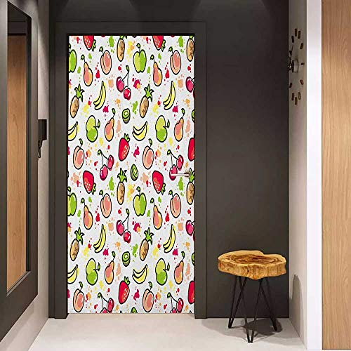 Kiwi Color Reflector - Onefzc Glass Door Sticker Decals Fruits Watercolor Pear Cherries Kiwi Apple Brushstroke Splashes Cute Kids Kitchen Door Mural Free Sticker W36 x H79 Peach Lime Green Red