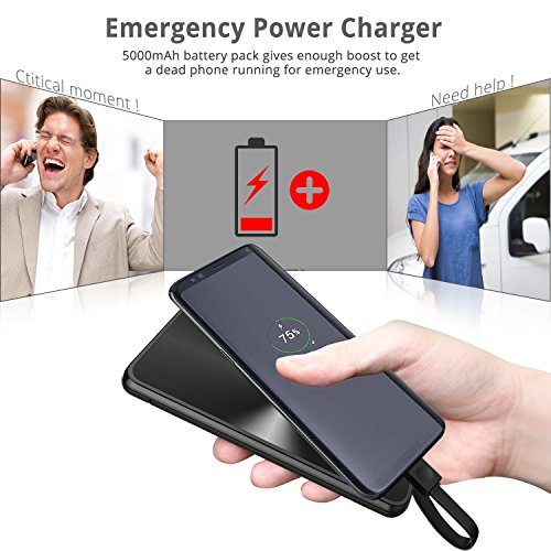 Battery Charger USB C power Banks miraku M6 5000mAh portable Charger Battery Backup by using made in Type C USB Cable2 USB Ports of portable Charger for Galaxy S8Note 8 S8 LG G6 Black External Battery Packs