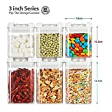 (Functional Storage Container) Flip-tite Canister Collection. 6pcs set, Crystal Clear Tab(square/2size) , Have Been Sold More Than Ten Million Sets. Practical spice jar. Salt, pepper, sugar, tealeaves storage organizers.
