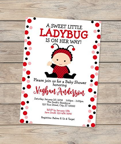 Little Ladybug Baby Shower Invitation, Cute Baby Lady Bug Invite, Baby Girl Red Ladybug Invitation, Matte Finish -