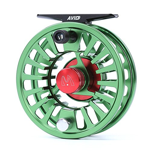 M MAXIMUMCATCH Maxcatch Avid Fly Fishing Reel with CNC-machined Aluminum Alloy Body 3/4,5/6, 7/8wt (Silver,Black,Blue,Green) (Green, 7/8 wt) -