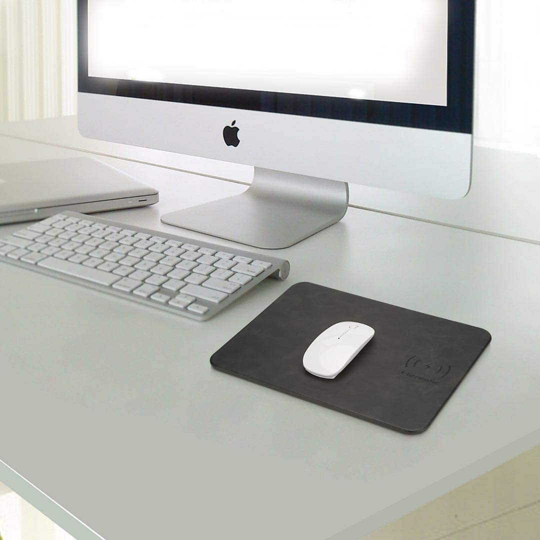URAURORA Computer Mouse Pad Mat Fast Wireless Charger with Anti-Slip Rubber Base Durable Portable 2 in 1 Charging Mat for Computer PC Laptop Gift,B,5W