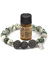 SaintH Tree Agate Lava Stone Diffuser Bracelet includes Essential Oil Sample
