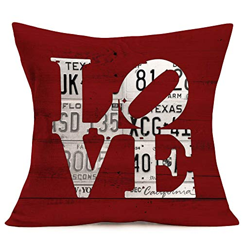 """Vintage Red Wood Background with Love Lettering Cotton Linen Square Throw Pillow Covers Valentine's Day Decorative Throw Pillow Case Cushion Cover for Sofa Couch 18""""x18"""" -"""
