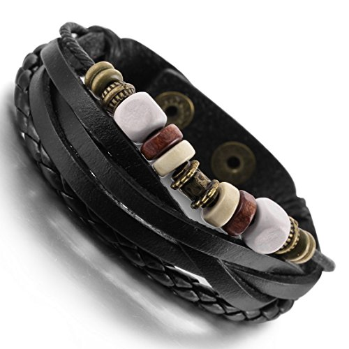 INBLUE Men's Alloy Genuine Leather Wood Bracelet Bangle Cuff Rope Silver Tone Black Surfer Wrap (Silver Surfer Costume)