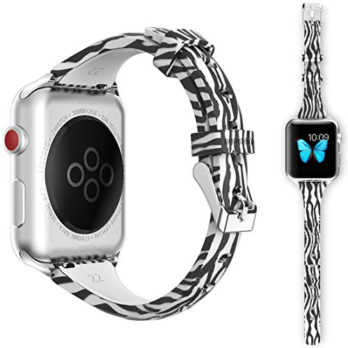 - Watch Band for iWatch 42/44mm, SUUO Smart Watch Band in Slim Silicone Compatible Apple iWatch Series 4 3 2 1 S/M M/L (Zebra, 42/44mm)