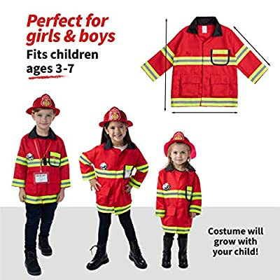 Born Toys Fireman Costume Coat Includes Badge and Firefighter Name TAG for Kids Role Play and Dress up Clothes: Toys & Games