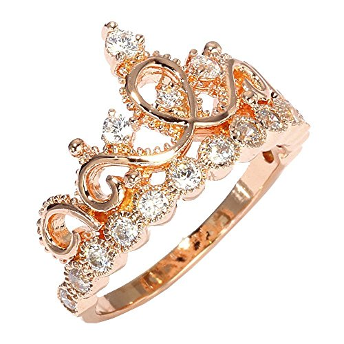 Sterling Silver 14mm Rose Ring (Sterling Silver Princess Crown Ring (Rose Gold Plated) (7))