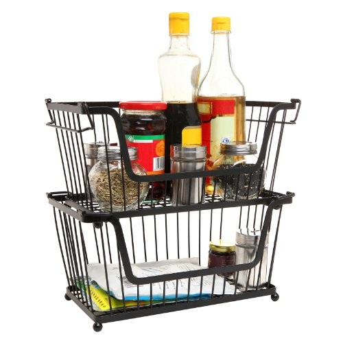 stackable kitchen storage stackable black metal pantry organizer basket space 2456