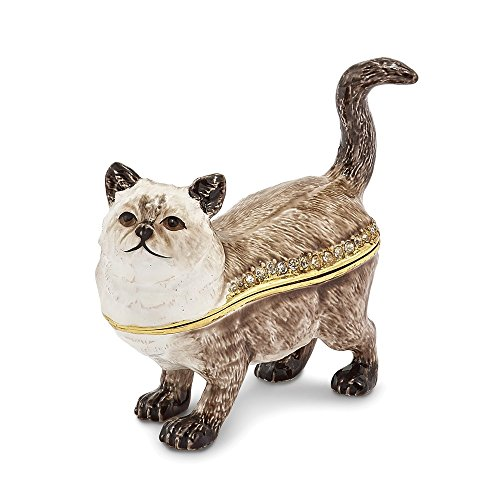 Box Trinket Cat Bejeweled - Saris and Things Bejeweled Himalayan Cat Trinket Box with Charm Pendant