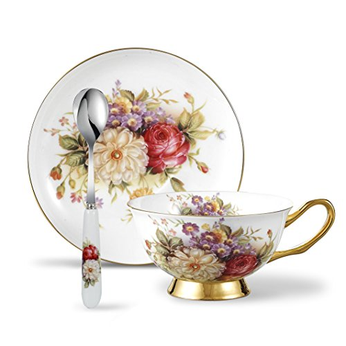 Panbado BC-CC-002 Bone China Tea Saucer Spoon Porcelain Coffee Cup Set 6.8 Ounce, Service for 1, Flower, 3 Piece Cup & Saucer, Daisy