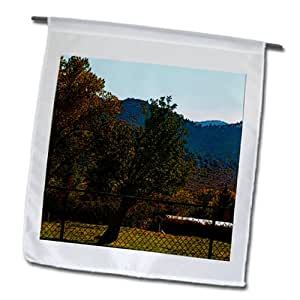Jos Fauxtographee Trees - A posturized tree behind a chain link fence - 12 x 18 inch Garden Flag (fl_79710_1)