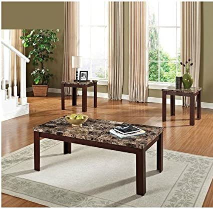 Amazoncom Faux Marble 3 Piece Coffee And End Table Set Brown And