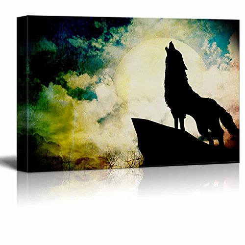 wall26 - Animal Theme Canvas Wall Art - A Wolf Howling on a Full Moon Night - Giclee Print Gallery Wrap   Modern Home Decor Stretched & Ready to Hang - 24x36 inches ()