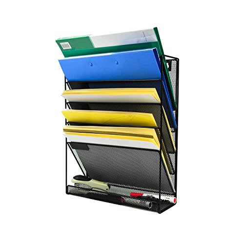 YIMU 5 Slot Mesh Metal Wall-Mounted File Organizer for Home Office. Black by YIMU