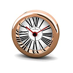 Oliver Hemming Rose Gold Mini Alarm Clock with Roman Numeral Dial