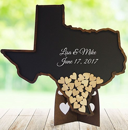 Texas Guest Book for Wedding – State Shaped Drop Box with Wooden Hearts - Guestbook Alternative