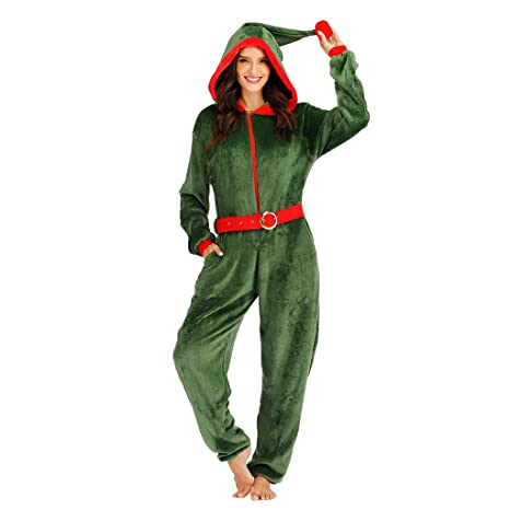 EraSpooky Disfraz de Duende Sexy de Navidad Onesie para Mujer ...