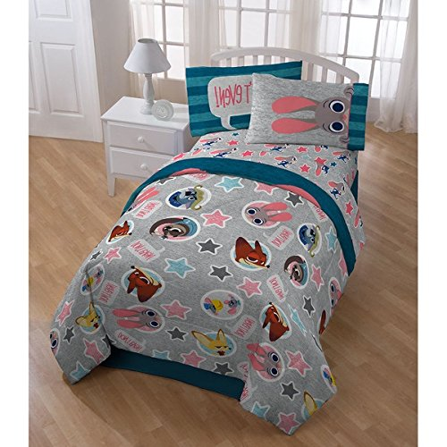 5 Piece Blue Grey Kids Disney Zootopia The Movie Theme Comforter Twin Set, Fun Multi Stripe Reversible Bedding, Cute All Over Disneys Star Characters Judy Hopps Bunny Nick Wilde Finnick Fox