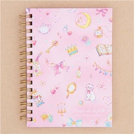 Libreta de anillas bloc rosa gato luna llave animal objeto: Amazon.es: Juguetes y juegos