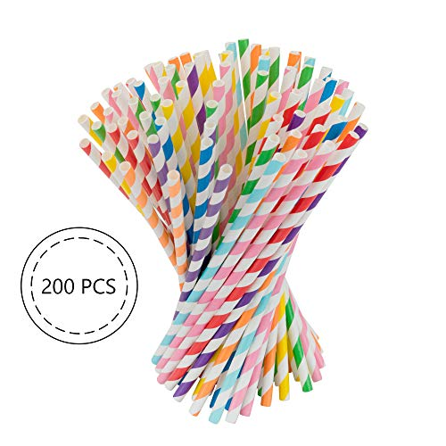 Biodegradable Paper Drinking Straws 7.7 Inches - Mix Colors Straws Strips [8 colors in total] 200 pcs bag [eco friendly straws] for Birthday, Wedding, Bridal/Baby Shower, Celebrations and Parties -