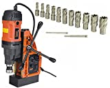 Cayken SCY-42HD 1.65″ Magnetic Drill Press with 1700W Variable Speed Motor, Weldon Shank, 13 Piece 1″ Cut Depth Annular Cutter Kit