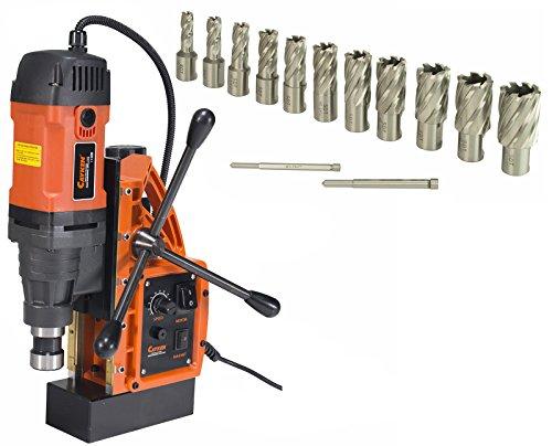 Cayken SCY-42HD 1.65'' Magnetic Drill Press with 1700W Variable Speed Motor, Weldon Shank, 13 Piece 1'' Cut Depth Annular Cutter Kit by CAYKEN