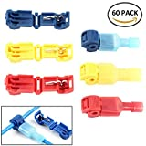 Wrightus 60pcs T-Tap Wire Connectors Terminals Quick Splice Electrical Connectors Self-Stripping and Nylon Fully Insulated Male Spade Disconnect Kit