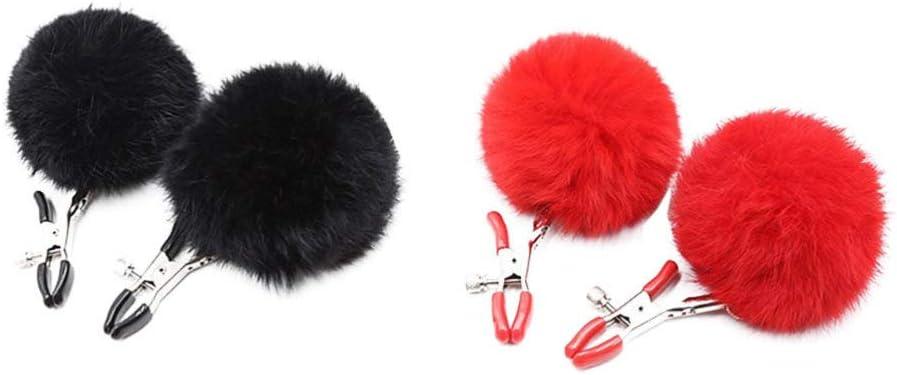 FENICAL 2 pares de clips para el pecho, juguetes para estimular el pezón femenino, juego de coqueteo para pareja, pezón, burlas, juego erótico sm para adultos (negro + rojo)