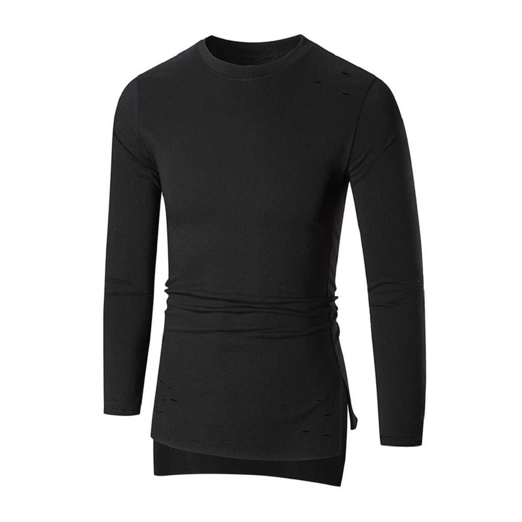 GodeyesMen Baggy Splicing Hooded Long Sleeve Pullover Sweatshirts
