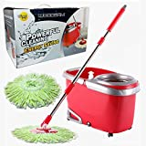 Woodsam Magic Spin Mop - Easy Press Mop Bucket Set - Suspension Cylinder Washing System - 360° Rotation - Liquid Drain Hole - Non Pedal