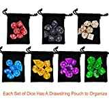 Paxcoo 7 x 7 (49 Pieces) Polyhedral Dice with Pouches for Dungeons and Dragons DND RPG MTG D20 D12 D10 D8 D4 Table Games