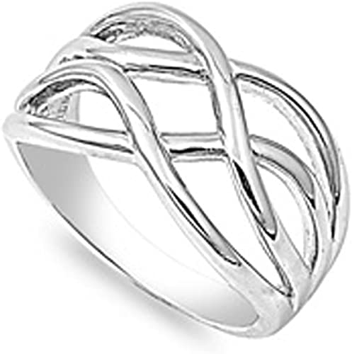 Size 6-10 Christmas Pure 925 Sterling Silver Rings Celtic Knot Ring for Girls Eternity Knot Ring Wedding Band Rings for Women Stackable Ring