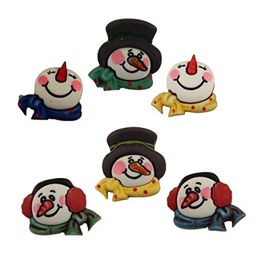 Buttons Galore Christmas Craft & Sewing Buttons - Snowman Medley - Set of 3 Cards