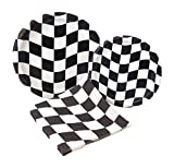 racing party supplies - Black and White Check Racing Party Supply Pack! Bundle Includes Paper Plates & Napkins for 8 Guests