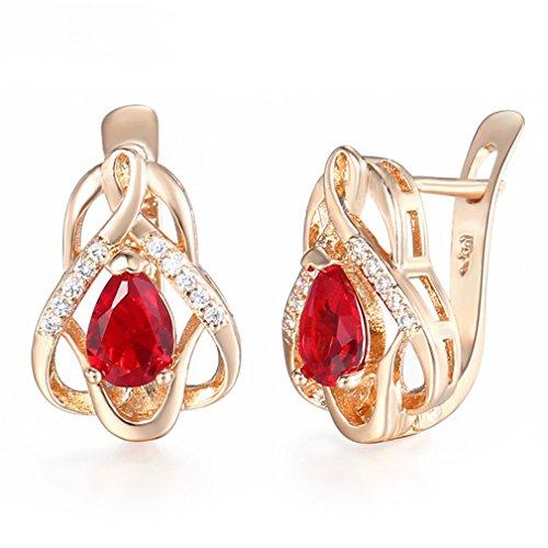 ls Womens Stud Earrings 585 Rose Gold Filled Snap Closure GE99 ()