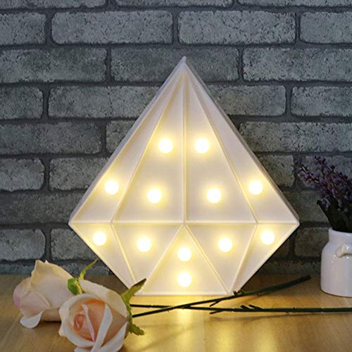 Sign Diamond Shaped - Yooha Creative Diamond Shaped LED Night Light, Marquee Sign Bedside Lamp Battery Operated Energy Saving Table Lamps for Bedroom Kid's Room Wall Decoration, Valentine's Day Birthday Gift(White)
