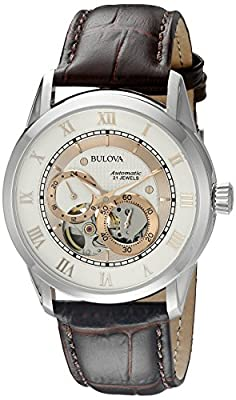 Bulova mens 96A172 22 mm Leather Alligator Brown Watch Strap by Bulova Corporation