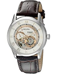 Bulova mens 96A172 22 mm Leather Alligator Brown Watch Strap